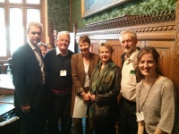 The speakers at the event in Parliament