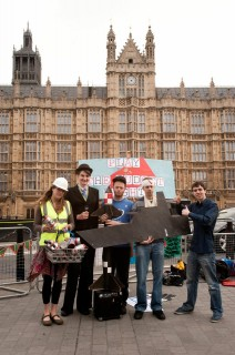 Our gameshow outside Parliament saw an engineer win military research instead of renewables, a student end up with a nuclear weapons system rather than an education, and a patient end up with a mothballed aircraft carrier instead of an A&E.
